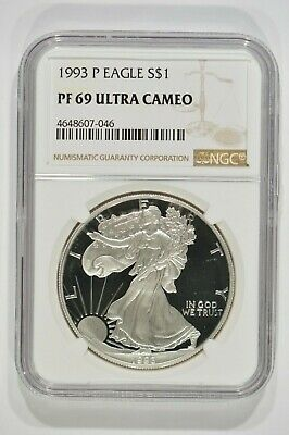 1993-P Proof American Silver Eagle $1 NGC PF69 Ultra Cameo 4648607-046
