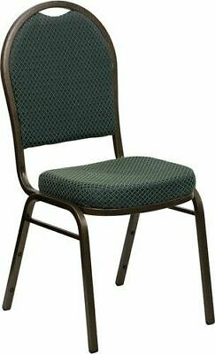 10 PACK Banquet Chair Green Patterned Fabric Restaurant Chair Dome Back Stacking