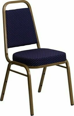 10 PACK Banquet Chair Navy Pattern Fabric Restaurant Chair Trapezoidal Stacking