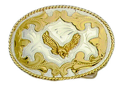 German Silver Tone and Gold Tone Belt Buckle with Soaring Eagle Detail