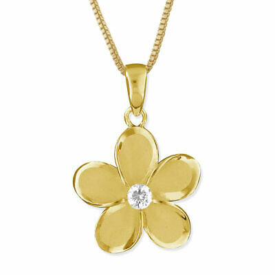 """Yellow Gold Plated Sterling Silver 15mm Plumeria Pendant Necklace, 16+2"""""""