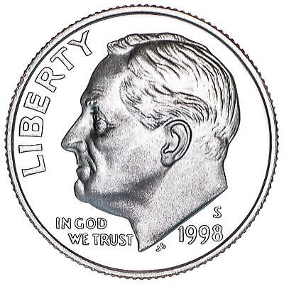 1998 S Roosevelt Dime Gem Deep Cameo CN-Clad Proof US Coin