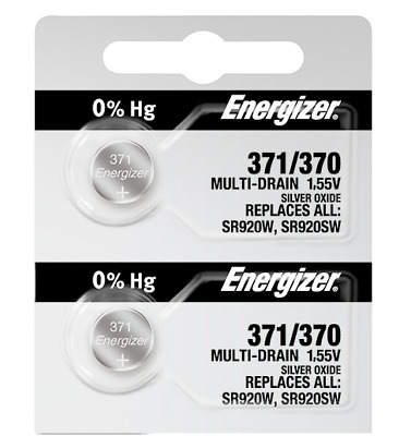 Energizer 371 370 Silver Oxide Coin Cell Batteries 2 Pack Tear Strip