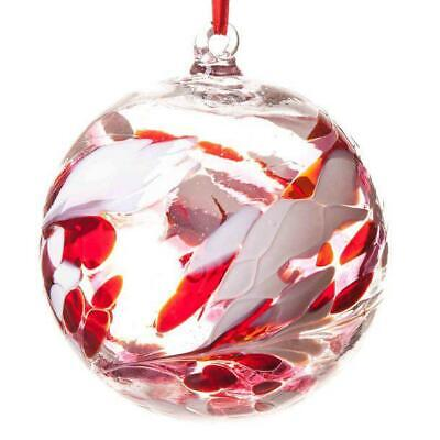 Glass Friendship Ball 12cm Red Pink White