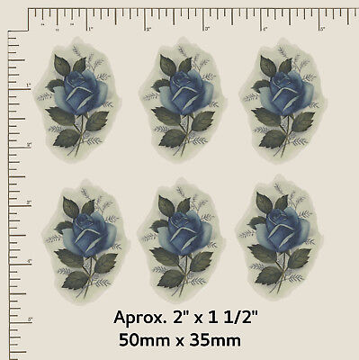 "6 x Waterslide ceramic decals Flowers Blue Roses Approx 2"" X 1 1/2"" R39"