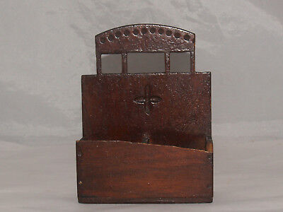 Antique Cigar Box Art Folk Art Wooden Wall Box Match Holder Primitive