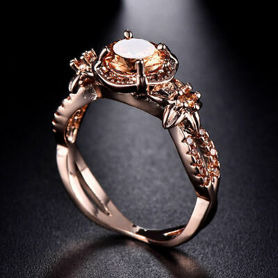 New Rose Gold Filled Rings Cubic Zirconia Stone Champagne Topaz Jewelry Rings