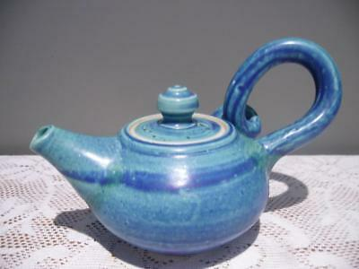 Vintage Signed Studio Art Pottery Teapot - Spiral Handle - Blue - Collectable