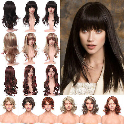 Women Ladies Full Wig Medium Bouncy Curly Dispy Brown Blonde Auburn Ombre Wigs