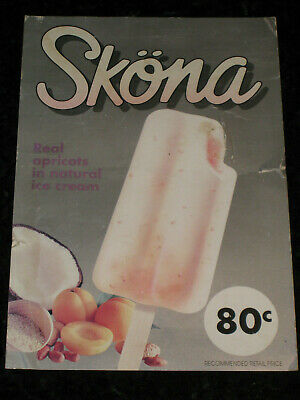 Peters Skona Ice Cream Advertising Shop Price Card Sign Milk Bar 1990's