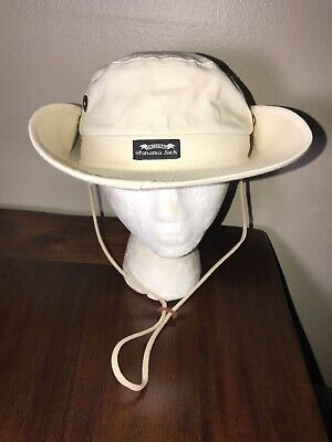 Panama Jack Mens BUCKET FISHING Cream Canvas Hat Chin Cord size Large L USA 890ef2be17b9
