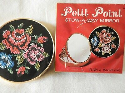 Retro 1970's 'Stow - A - Way' Petit Point Purse Mirror, Japan.