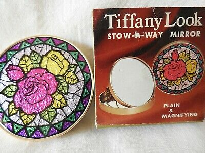 1970's 'Stow -A- Way' Tiffany Style Design Purse Mirror, Made In Japan.