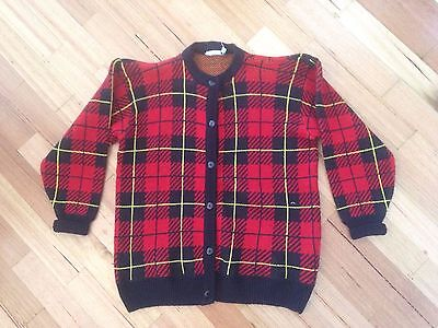 Cardigan Jumper Hipster Retro Vintage hipster Red Funky Excellent Cond S