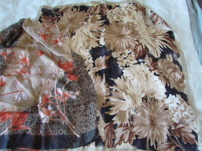Silk Scarf Lot Jones New York Vintage Retro Floral Abstract beige Brown New