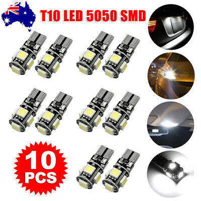 10PCS WHITE CANBUS T10 Wedge 5SMD Parker Plate LED Bulbs W5W 194 168 131
