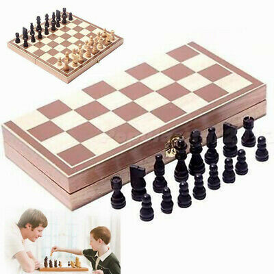 Wooden Pieces Chess Set Folding Board Box Wood Hand Carved Toys For Kids Gift uk