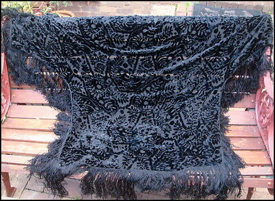 Vintage Art Deco Flapper Devore Burnout Silk Velvet Shawl Wrap Cape