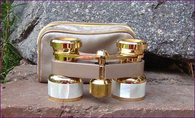 Vintage Retro Photax Brass Mother of Pearl Opera Glasses Binoculars Exc Cond