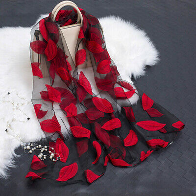Summer Embroider Floral Lace Leaves Organza Scarf Women Sunscreen Shawl Wrap@