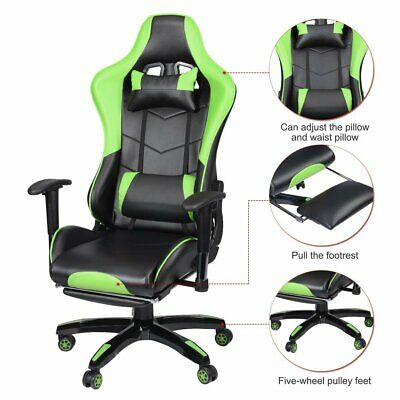Racing Gaming Office Chair Computer Mesh Desk Chair Swivel PU Leather Sport