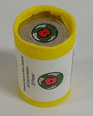 2018 New Zealand Armistice Coloured 50c Coin Roll from New Zealand Mint UNC