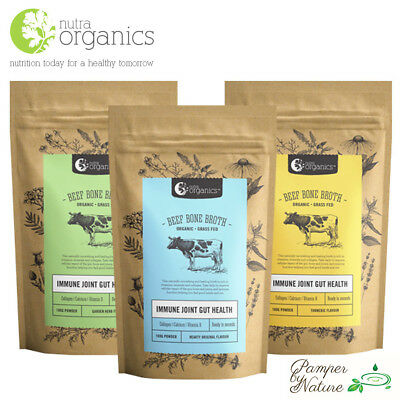 Nutra Organics Beef Bone Broth - Organic - Grass Fed - 3 Flavours Available