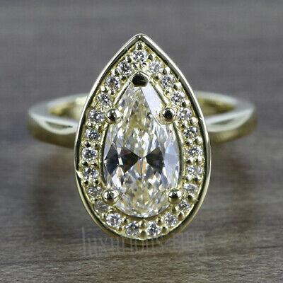 Halo Pear 1.60 Ct Near White Moissanite Engagement Ring 14k Solid Yellow Gold 7