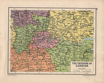 1934 Map ~ Environs Of London ~ Essex Surrey Kent Middlesex
