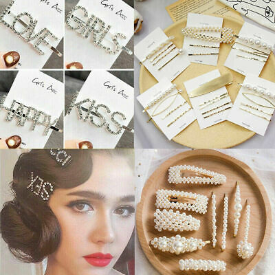 Women Crystal Pearl Words Hair Clip Snap Barrette Stick Hairpin Hair Accessories