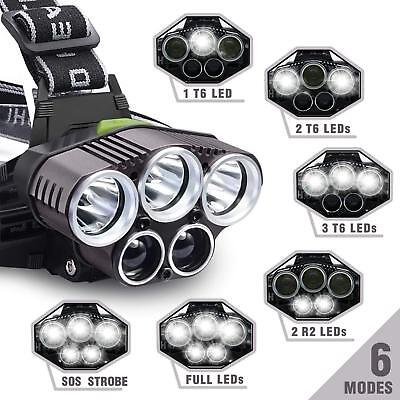 Bright 90000LM 5X T6 LED Headlamp Rechargeable Headlight Flashlight Torch Lamp k