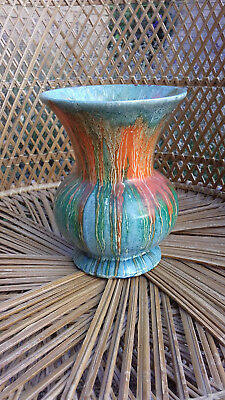 Vintage 1950s British Ceramics 'Roskyl' Pottery  Hand Painted Drip Art Vase