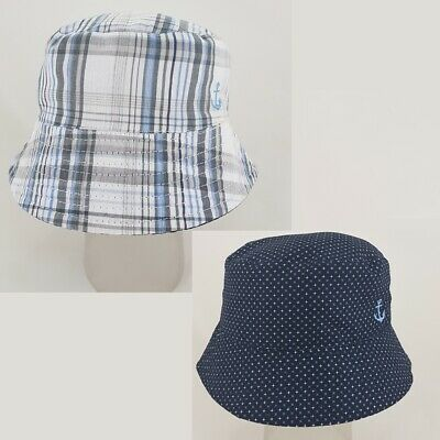Baby boys reversible sun hat hats navy star striped 6-9-12-18 months  1-2 years