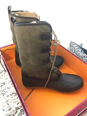 d042b339a1e TORY BURCH ARGYLL Lace Up Boots Size 6 New In Box Olive Coconut ...