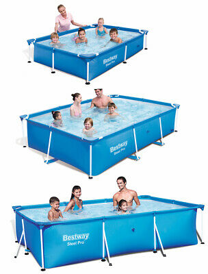 Bestway Steel Pro Splash Rectangular Family Frame Swimming Pool in three sizes