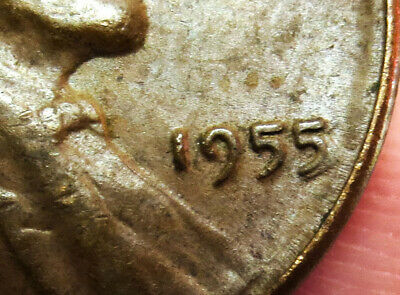 1955 /5  Poor Mans Double Die United States Lincoln Wheat Cent Coin