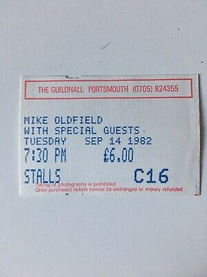 Mike Oldfield Concert Ticket Portsmouth 1982