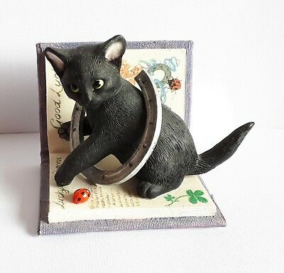 Kitten Tales 'Good Luck' Black Cat and Horseshoe Book Figurine