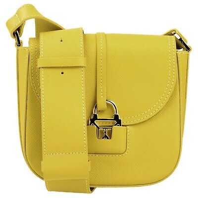 Patrizia Pepe Italian Made Mustard Green Small Shoulder Crossbody Bag Purse