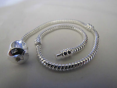 FREE POST 23cm XL 925 SILVER STAMPED SNAKE CHAIN FOR EURO STYLE CHARM BRACELETS