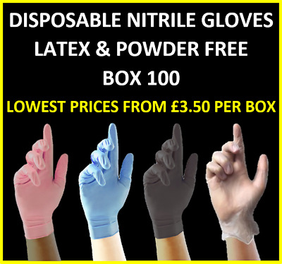 Disposable Nitrile (Latex & Powder Free) Gloves - Pink,Blue,Black, White + Vinyl