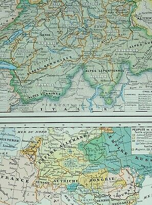 1905 Map Switzerland Bern Zurich Vaud Fribourg Geneva Grisons Races Of Europe