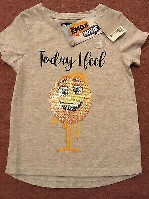 00c7ce74 🥰GIRLS EMOJI TSHIRT With Two Way Sequin Image Age 3 Years *BNWT ...
