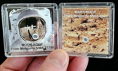 2 DELUXE EDITIONS -AUTHENTICATED MOON & MARS ROCK METEORITE DISPLAYS+Easels   al