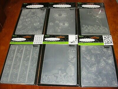 lot 6 Darice EMBOSSING Folders universal spring nautical butterfly flowers NEW!