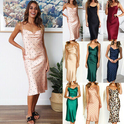 79975364f00 Womens Satin Midi Dress Strappy Cocktail Evening Party Casual Bodycon  Dresses