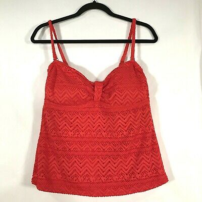 937f9815838be Catalina Solid Crochet Bandini Swimsuit Top Red Cutout Tankini L 12/14 TOP  ONLY