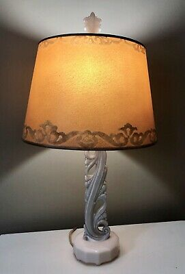 Antique Vintage Aladdin Alacite Glass Electric Lamp Original Shade & Finial