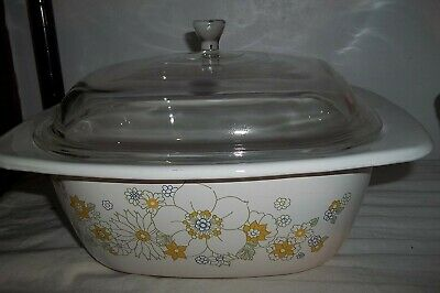 Corning Ware Retired Daisy FLORAL BOUQUET 5 Qt Dutch Oven P34B Casserole w/ Lid