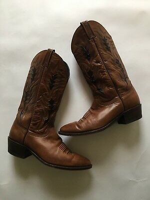 ae8063f3c29 DAN POST COWBOY Boots Men's Size 10 Brown With Black Inlay Vintage ...